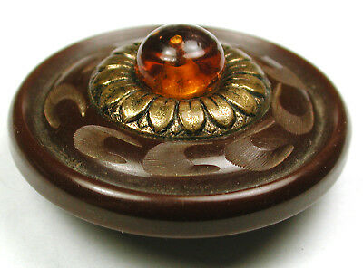 BB Vintage Bakelite Button Hand Carved Chocolate wGlass Jewel & Brass 1 & 11/16""