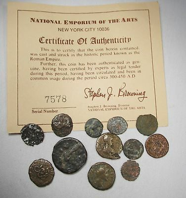 Ancient Roman Bronze Coins 3rd Century 300 AD Lot of 12 AG1004