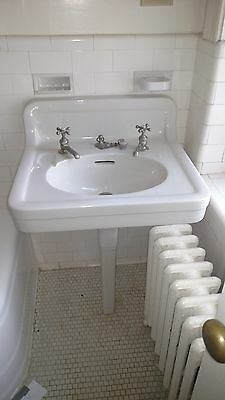 Vintage  Crane Ipswich  Peg Leg Porcelain  Pedestal  Bathroom Sink  Can Ship