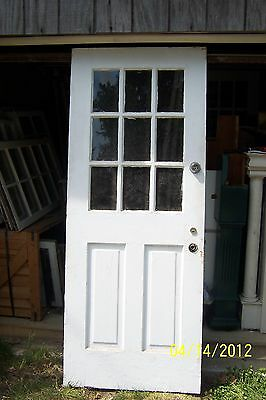 Exterior Antique Wood Door 9 Panes Glass 2 Vertical Panels 32 X 79 Can Ship