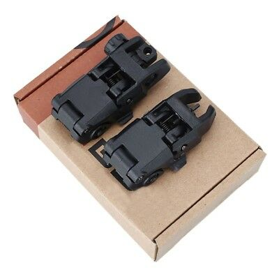 2PC Tactical Folding AR Front Rear Flip Up Backup Sights BUIS MBUS Set 223 5.56