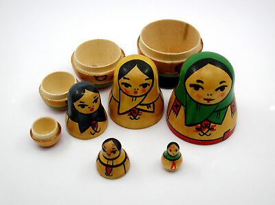 Very Old, Russian Made Hand Painted, Nesting Doll Set - Stacking Wood 5 Dolls