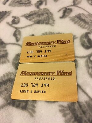 Two Vintage Expired Montgomery Ward Credit Cards