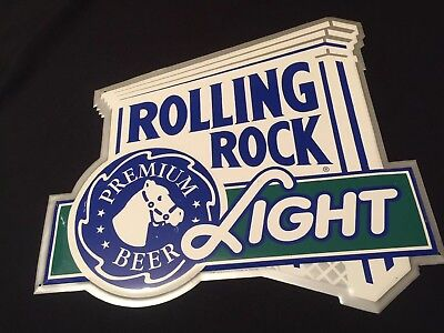 ROLLING ROCK LIGHT 1999 Latrobe Brewing Co PA Tin Bar Advertising Sign