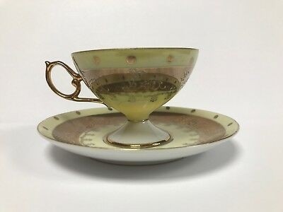 Vintage Royal Halsey Very Fine China Cup And Saucer - Green & Gold