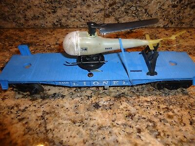Lionel Rare 3410 Car & Single Blade Operating Helicopter (Needs Repair)