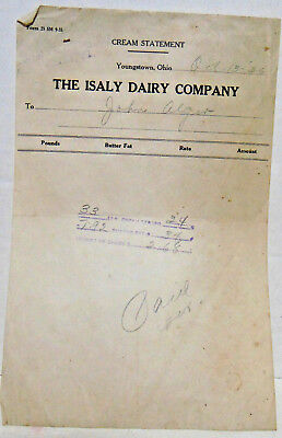 Oct. 13, 1936, Isaly Dairy, Youngstown, OH Cream Statement, C M Woods, Corry, PA