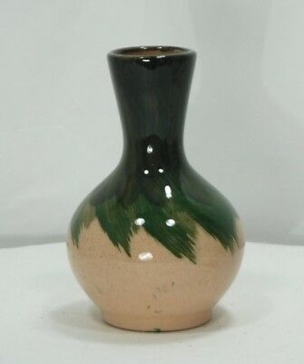 "Black Hills Clay~Green & Brown Glazed Vase 4""~ Opal D's Original ~ South Dakota"