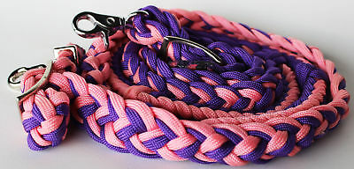 Roping Knotted Horse Western Barrel Reins Nylon Braided Pink Purple 60763