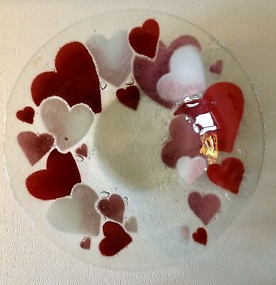 "Vintage Retired Peggy Karr Fused Art Glass Red Valentines Hearts 8 1/2"" Bowl"