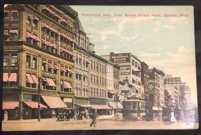 WOODWARD AVE. From Grand Circus Park DETROIT MICHIGAN 1913 Postcard