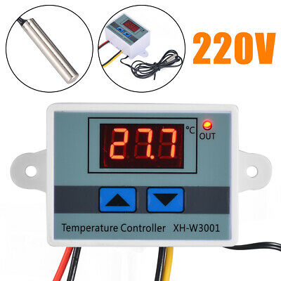 220V Digital LED Temperature Controller 10A Thermostat Switch  Probe Sensor