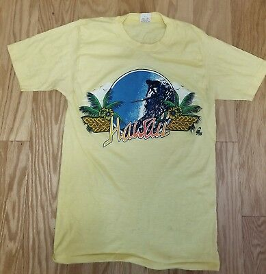 c.1970s - 80s Vintage Hawaiian Souvenir Surfing Surfer T-Shirt Poly Tees Hawaii