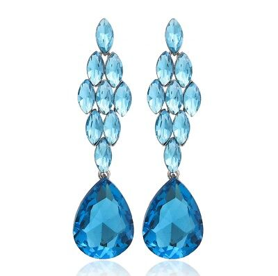 Marquise Drop Crystal Rhinestone Chandelier Dangle Earrings Studs E1477b Blue