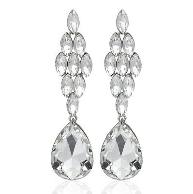Marquise Drop Crystal Rhinestone Chandelier Dangle Earrings Studs E1477 White