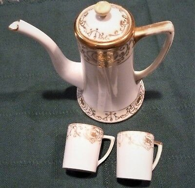 Antique Nippon Hand Painted Gold Tea/coffee Pot And 2 Demitasse Cups