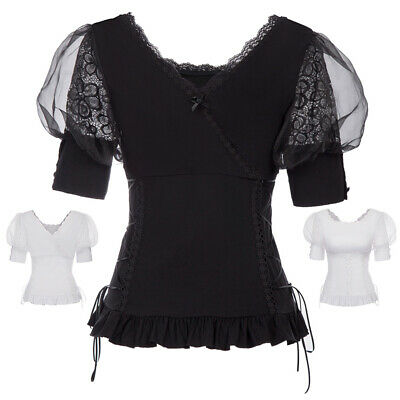Punk Rave Womens Gothic Gypsy Top Steampunk VTG Boho Victorian Shirt Costumes