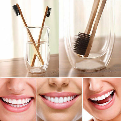 1x Bamboo Charcoal Oral Toothbrush Wood Handle  Low Carbon Nylon Recycle HOT