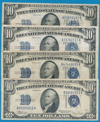 4-$10.1934  Mixed Blue Seal Silver Certificate Average Circulated Dealers Lot