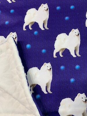 NEW Samoyed Dog Puppy, Blanket Throw Blue and White. One of a kind.