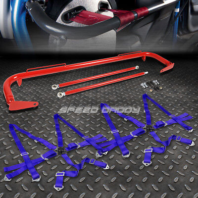 """Red 49""""stainless Steel Chassis Harness Bar+Blue 6-Pt Strap Camlock Seat Belt"""