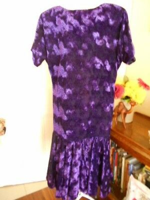 "VINTAGE 1980""s PURPLE  & BLACK VELVET DRESS"