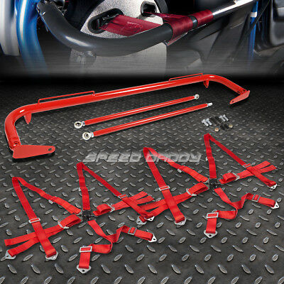 """Red 49""""stainless Steel Chassis Harness Bar+Red 6-Pt Strap Camlock Seat Belt"""
