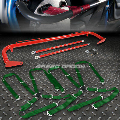 """Red 49""""stainless Steel Chassis Harness Bar+Green 4-Pt Strap Camlock Seat Belt"""