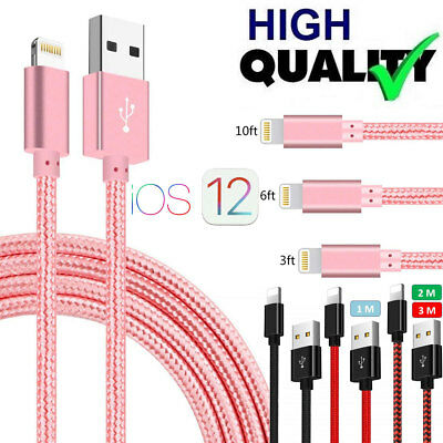 Braided USB Charger Cable Data Sync Cord For iPhone 7 Plus 6 8 XR XS MAX X SE 5