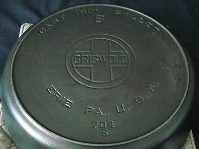 Vintage GRISWOLD Erie PA Cast Iron 8 Skillet 704 S Large Block Logo Heat Ring