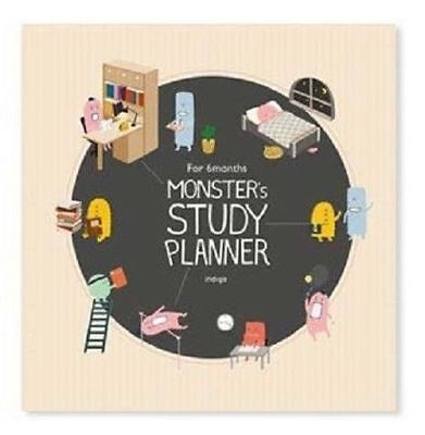 6 Month Monster Study Planner Organizer Beige Time Table Bucket List Memo_rg