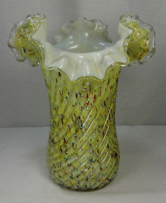 Antique Yellow Cased Case Spangle Spangled Art Glass Ruffle Vase