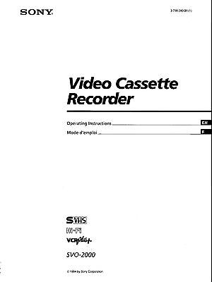 Instruction Operating User MANUAL for SONY SVO-2000 SVHS Super VHS VCR Deck