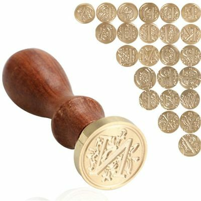 Wood Handle A-Z Alphabet Initial Flower Brass Head Wax Seal Stamp 26 Letters