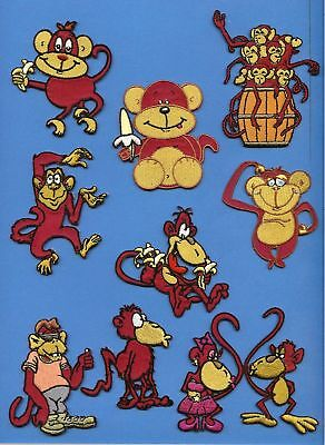 100 Lot ( 10 Each ) Cartoon Monkeys Embroidered Iron On Craft Patches Crests