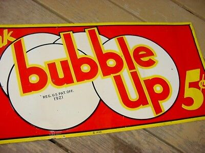 GREAT SHAPE * 1939 Vintage BUBBLE UP SODA Old Embossed 27 x 12 inch Tin Sign