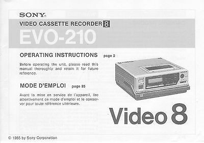 Instruction Operating User MANUAL for SONY EVO-210 Video8 8mm VCR Deck