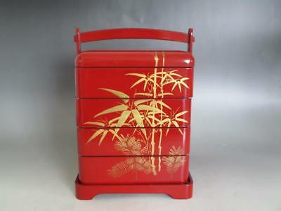 Japanese old wooden lacquered multitiered lunch box/ Jubako/ nice MAKIE/ 7552