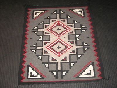 FINE TWO GREY HILLS NAVAJO RUG Native American Indian WOOL WEAVING BLANKET-WOW!