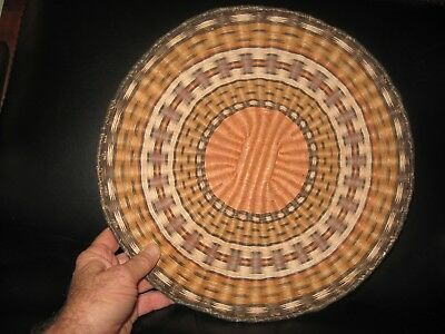 HOPI WICKER BASKET NATIVE AMERICAN INDIAN TRAY HAND WOVEN WEAVING~NO R. & .99c!