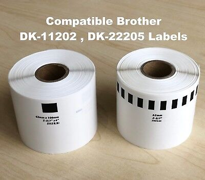 Compatible Brother DK-11202(62mm x 100mm) DK-22205 (62mm x 30.48m) Label Thermal