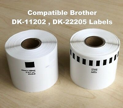 Compatible with Brother DK-11202(62mm x 100mm) DK-22205 (62mm x 30.48m) Label