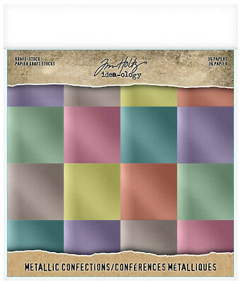 Tim Holtz Idea-ology Collection 8 x 8 Kraft Stock Metallic Confections TH93784