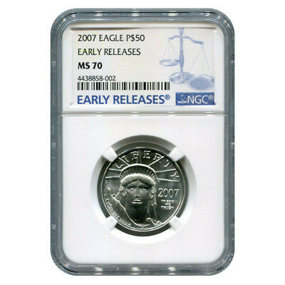 Certified Platinum American Eagle 2007 Half Ounce MS70 Early Release NGC