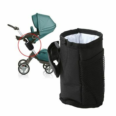 Black Waterproof Cup Holder Buggy Organizer Stroller Bottle Bag Essential