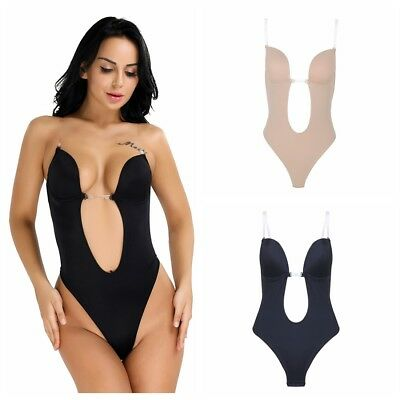 96d4b23b15312 Sexy Women Seamless Full Waist Body Shaper Deep U Plunge Padded Bodysuit  Leotard