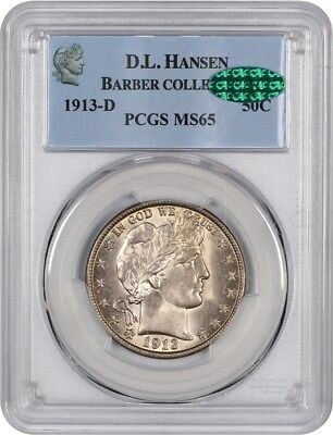 1913-D 50c PCGS/CAC MS65 - Barber Half Dollar - Slightly Better Date