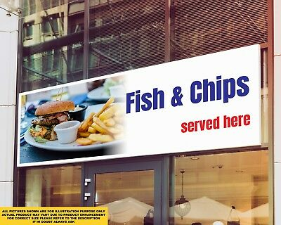 Fish and Chips Served Here Take Away Signage Colour Sign Printed Heavy Duty 4200