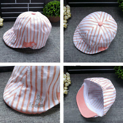 Infant Baby unisex Autumn Striped Soft Cotton Cap Beret Sun Hat Flat Caps