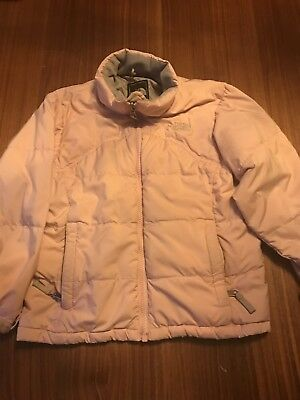 Girls North Face genuine  pink down jacket size Small age 7-8